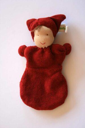 Schmusefreund Puppe dunkelrot mit braunen Haaren und braunen Augen. Kinderfreundliches Schmusepüppchen aus kontrolliertem biologischen Anbau. Textilkennzeichnung: 100% kbA-Baumwolle